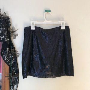black sequin miniskirt